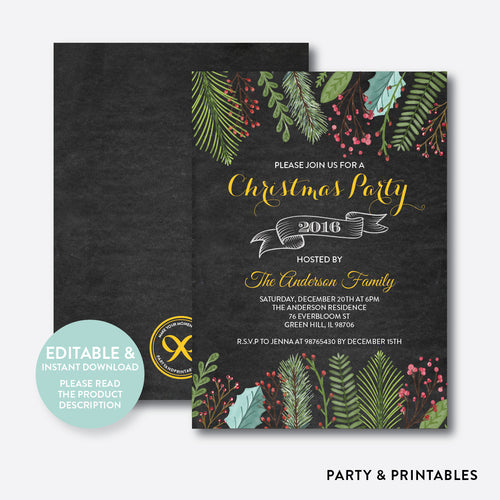 Christmas Party Invitation / Editable / Instant Download (CHI.15)