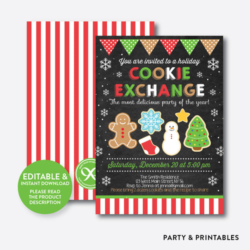 Cookie Exchange Christmas Holiday Invitation / Editable / Instant Download (CHI.16)