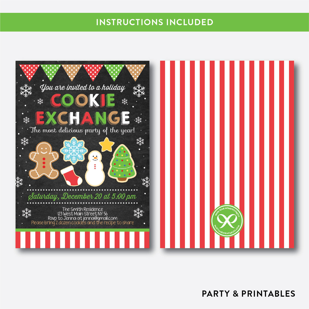 Cookie Exchange Christmas Holiday Invitation / Editable / Instant Download (CHI.16), invitation - Party and Printables