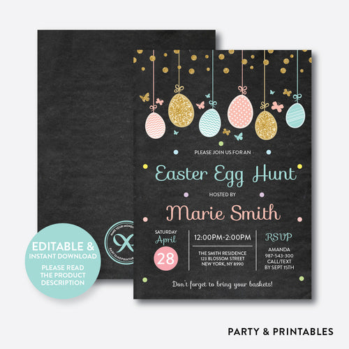 Easter Egg Hunt Holiday Invitation / Editable / Instant Download (CHI.17)