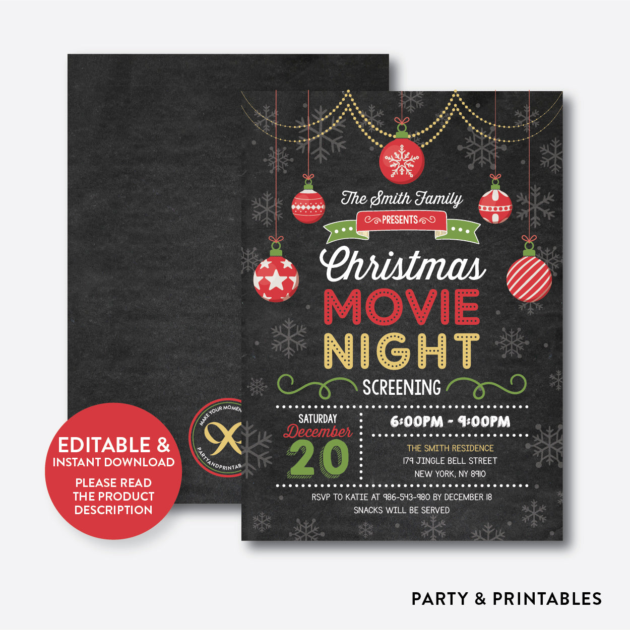 Christmas Movie Night Invitation / Editable / Instant Download (CHI.18), invitation - Party and Printables