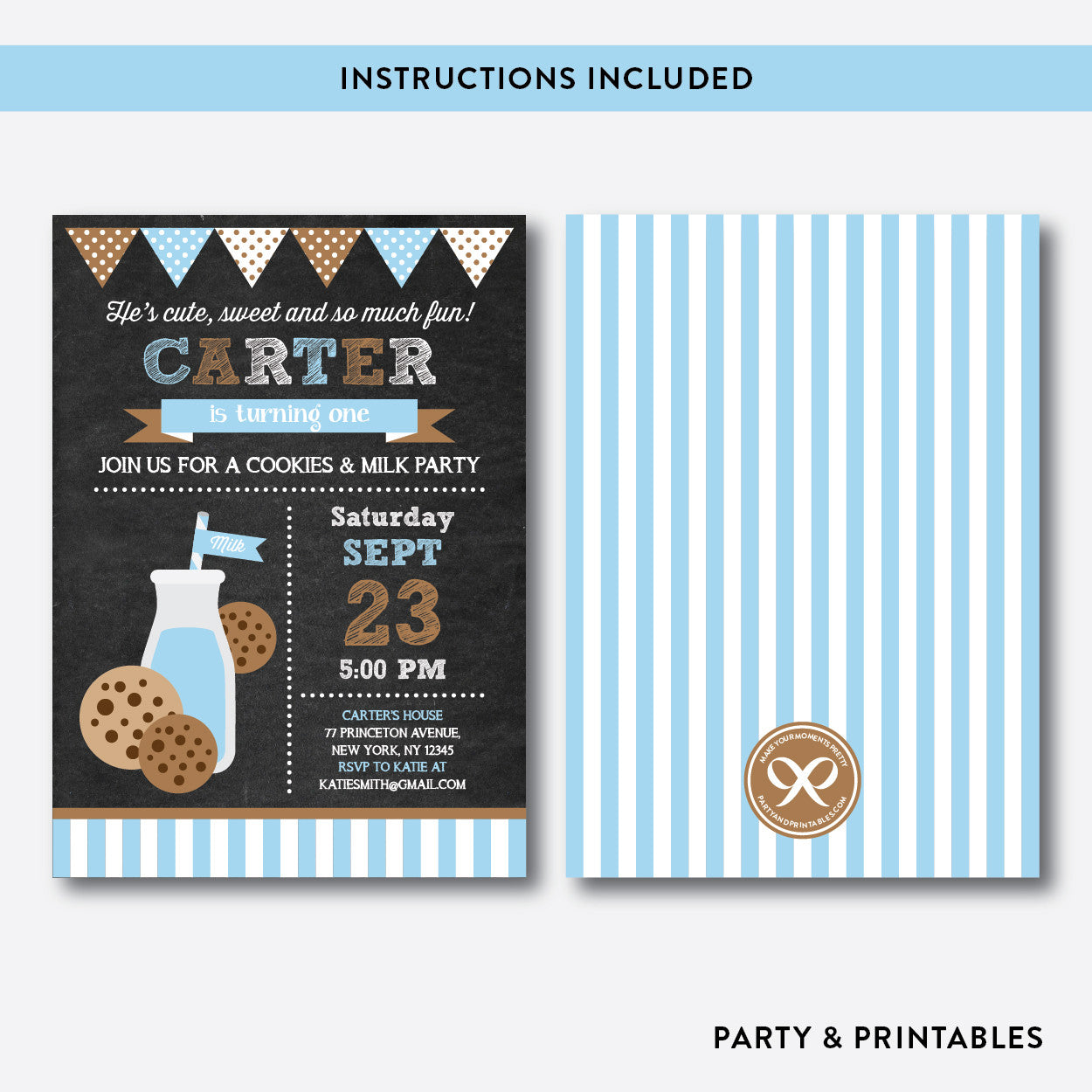 Cookies and Milk Chalkboard Kids Birthday Invitation / Editable / Instant Download (CKB.01B), invitation - Party and Printables