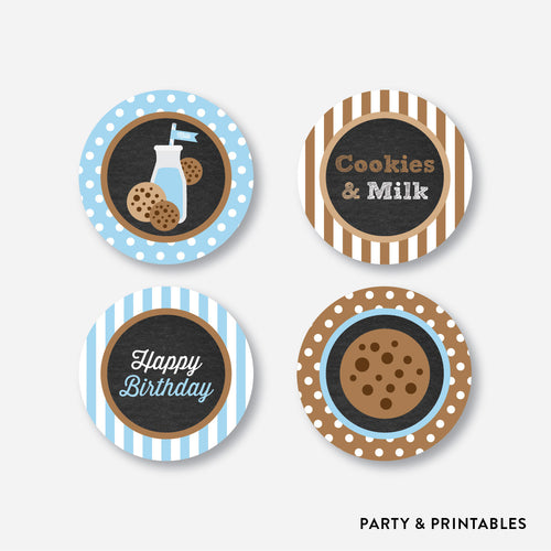 Cookies and Milk Chalkboard Cupcake Toppers / Non-Personalized / Instant Download (CKB.01)