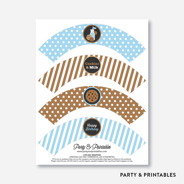 Cookies and Milk Chalkboard Cupcake Wrappers / Non-Personalized / Instant Download (CKB.01), party printables - Party and Printables