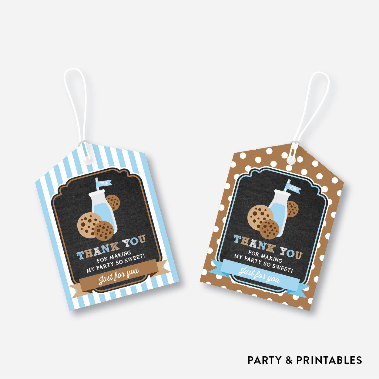 Cookies and Milk Chalkboard Favor Tags / Non-Personalized / Instant Download (CKB.01), party printables - Party and Printables