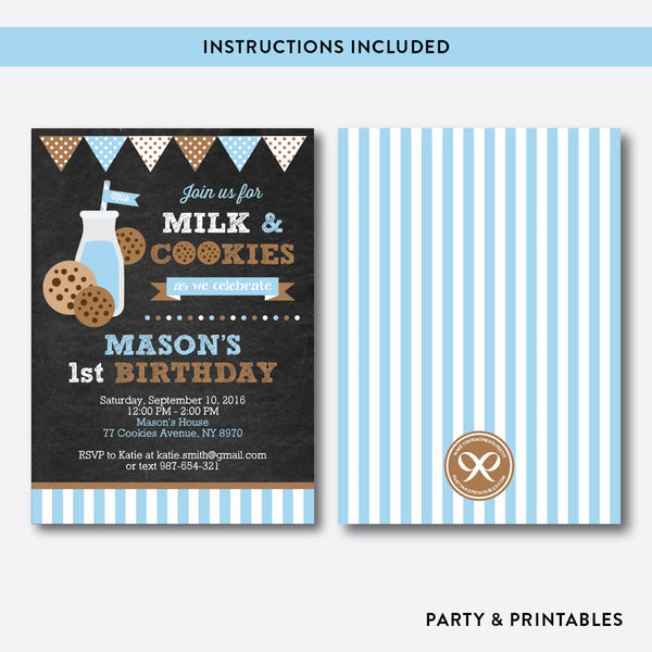 Cookies and Milk Chalkboard Kids Birthday Invitation / Editable / Instant Download (CKB.01), invitation - Party and Printables