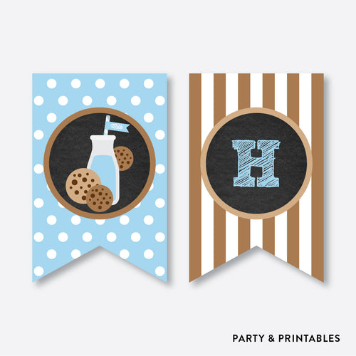 Cookies and Milk Chalkboard Party Banner / Happy Birthday Banner / Non-Personalized / Instant Download (CKB.01)