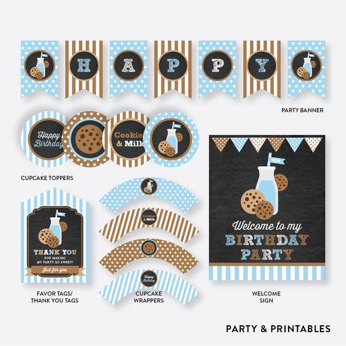 Cookies and Milk Chalkboard Standard Kids Birthday Party Package / Non-Personalized / Instant Download (CKB.01)