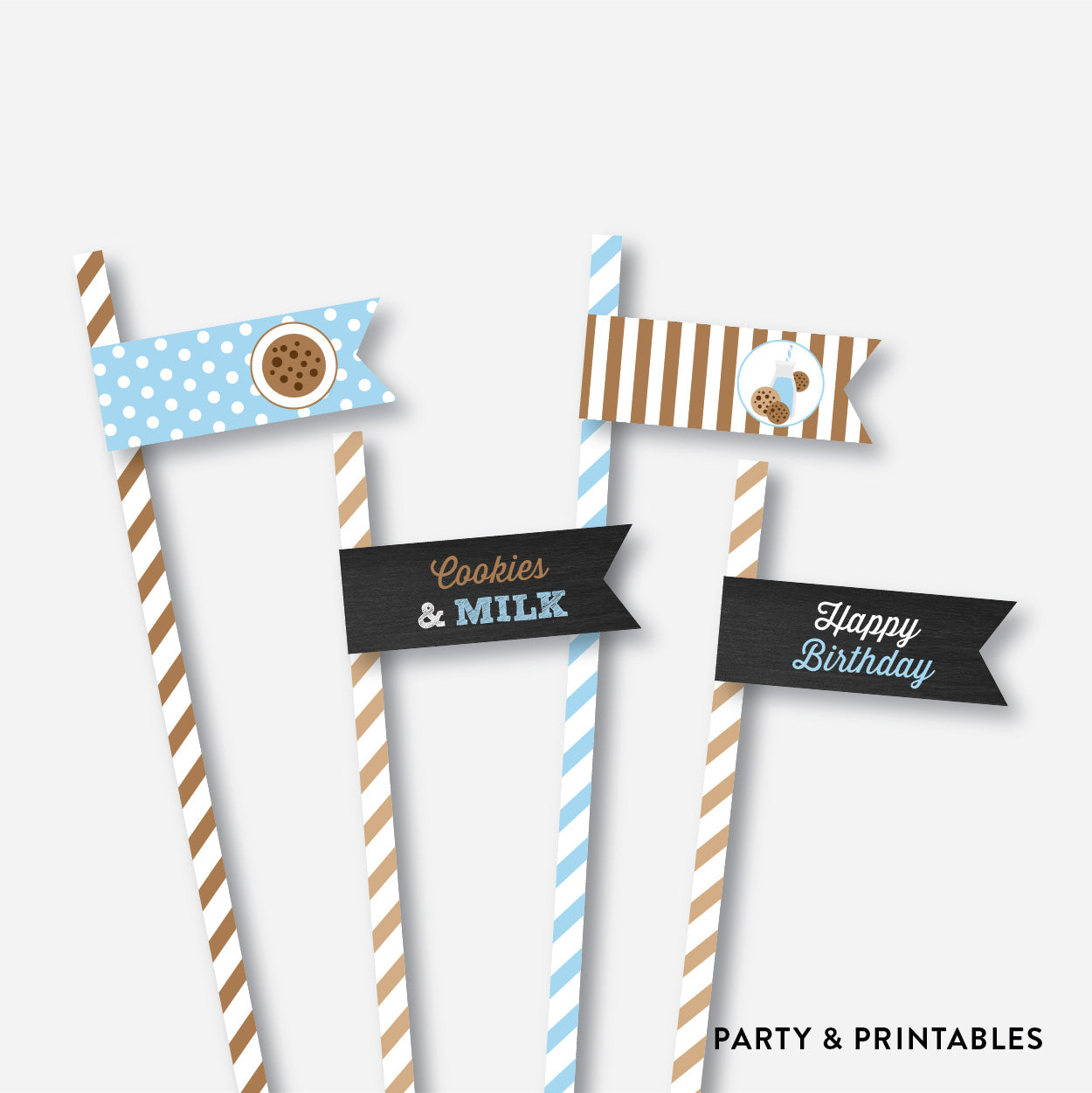 Cookies and Milk Chalkboard Straw Flags / Non-Personalized / Instant Download (CKB.01), party printables - Party and Printables