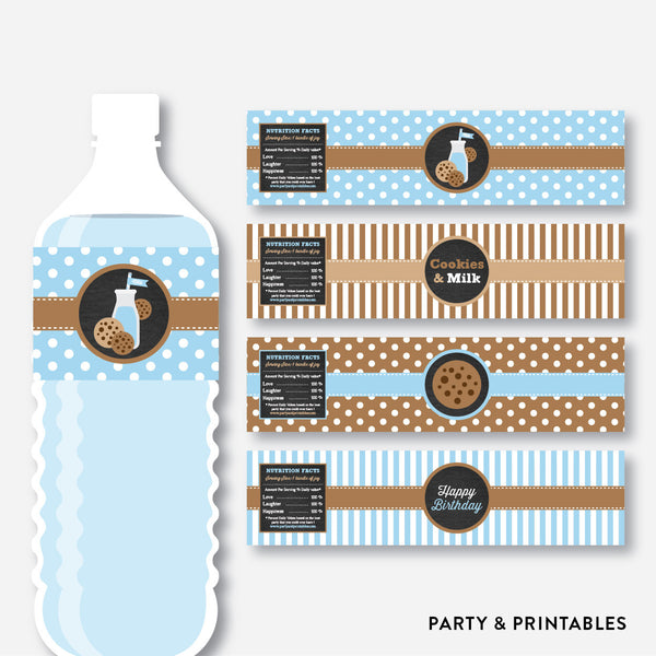 Cookies and Milk Chalkboard Water Bottle Labels / Non-Personalized / Instant Download (CKB.01), party printables - Party and Printables
