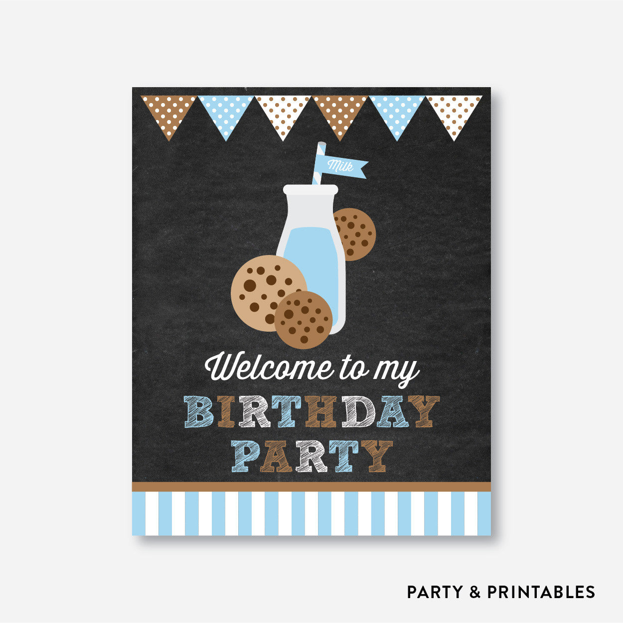 Cookies and Milk Chalkboard Welcome Sign / Non-Personalized / Instant Download (CKB.01), party printables - Party and Printables