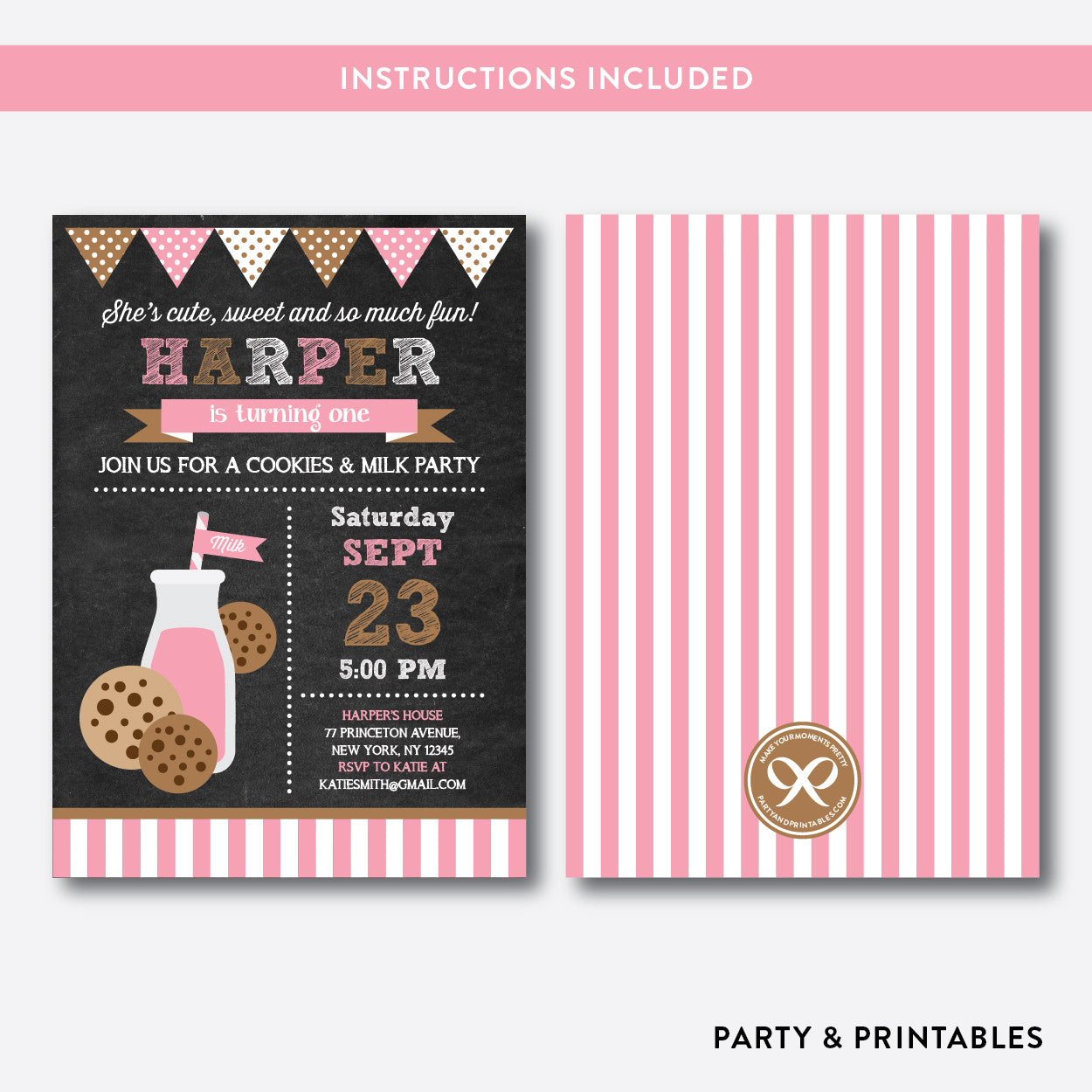 Cookies and Milk Chalkboard Kids Birthday Invitation / Editable / Instant Download (CKB.02B), invitation - Party and Printables