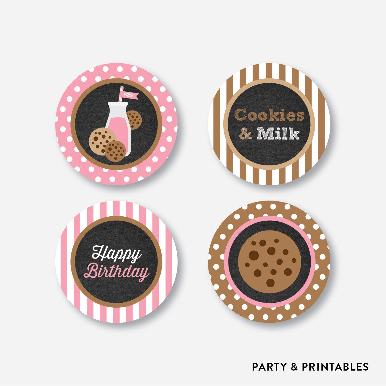 Cookies and Milk Chalkboard Cupcake Toppers / Non-Personalized / Instant Download (CKB.02), party printables - Party and Printables