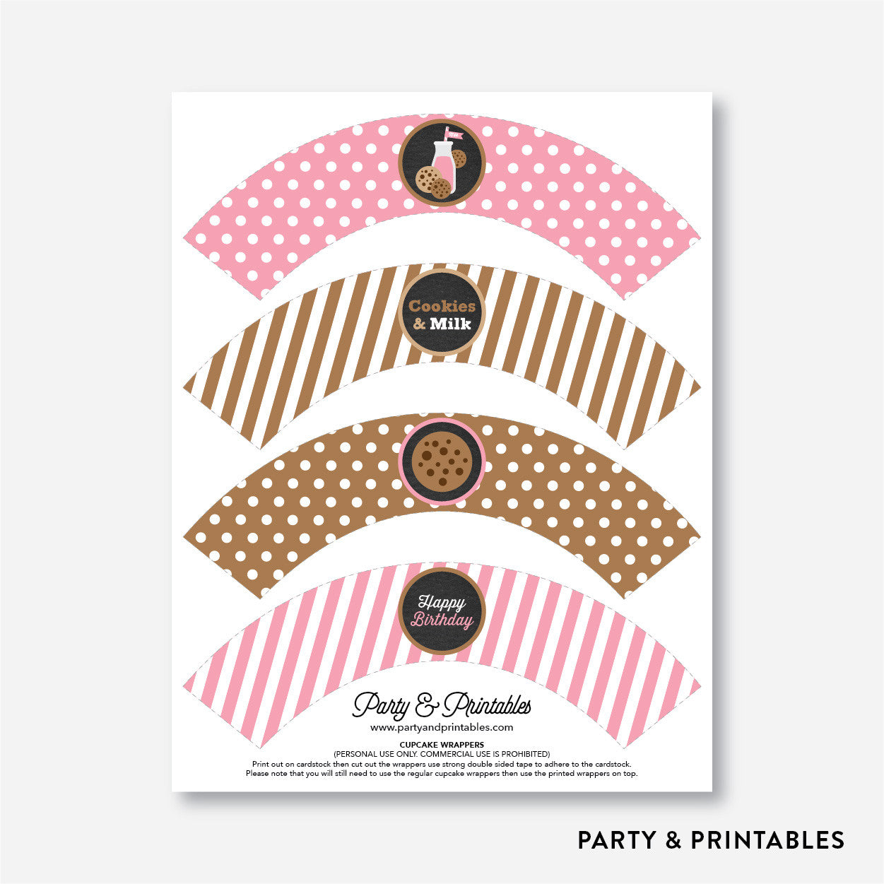 Cookies and Milk Chalkboard Cupcake Wrappers / Non-Personalized / Instant Download (CKB.02), party printables - Party and Printables
