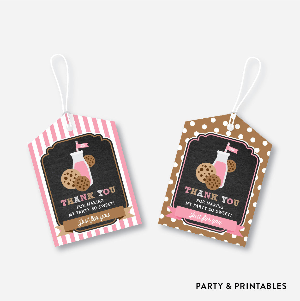 Cookies and Milk Chalkboard Favor Tags / Non-Personalized / Instant Download (CKB.02), party printables - Party and Printables