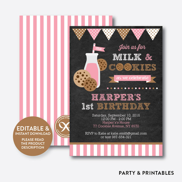 Cookies and Milk Chalkboard Kids Birthday Invitation / Editable / Instant Download (CKB.02), invitation - Party and Printables