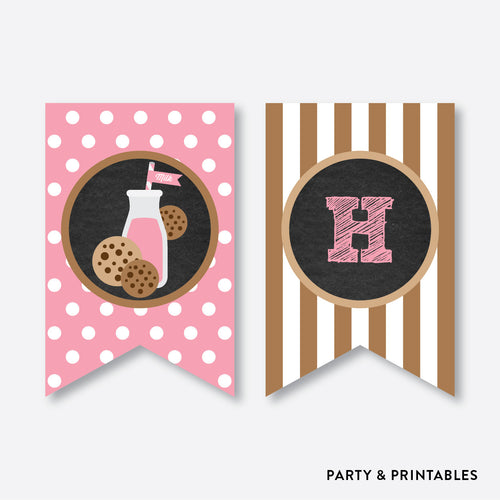 Cookies and Milk Chalkboard Party Banner / Happy Birthday Banner / Non-Personalized / Instant Download (CKB.02)