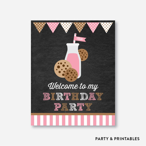 Cookies and Milk Pink Chalkboard Welcome Sign / Non-Personalized / Instant Download (CKB.02)