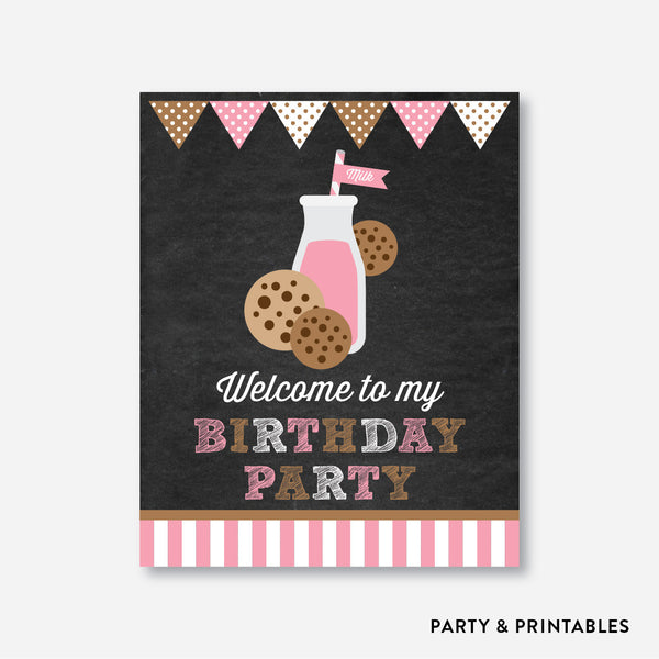 Cookies and Milk Chalkboard Welcome Sign / Non-Personalized / Instant Download (CKB.02), party printables - Party and Printables