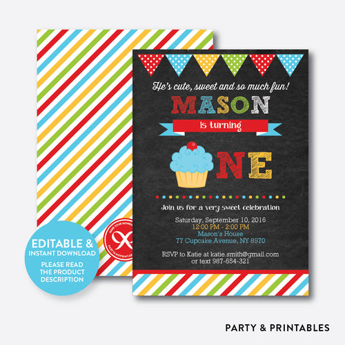 Cupcake Chalkboard 1st Birthday Invitation / Editable / Instant Download (CKB.03B)