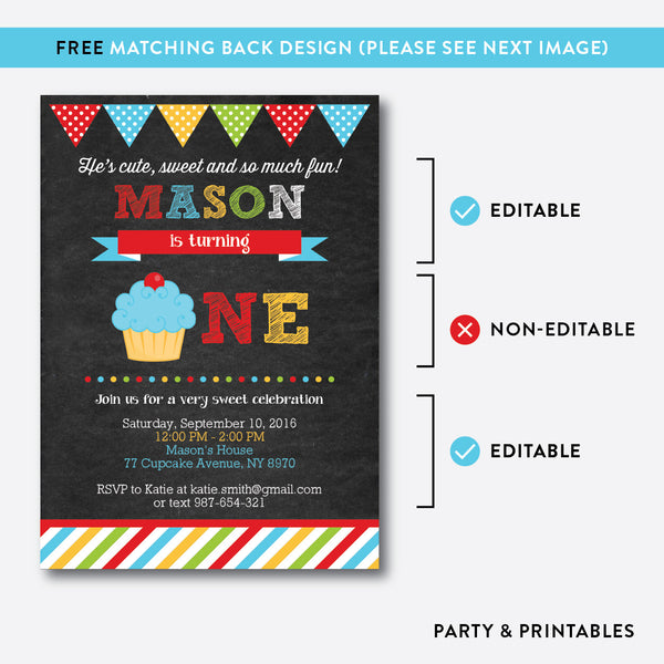 Cupcake Chalkboard 1st Birthday Invitation / Editable / Instant Download (CKB.03B), invitation - Party and Printables