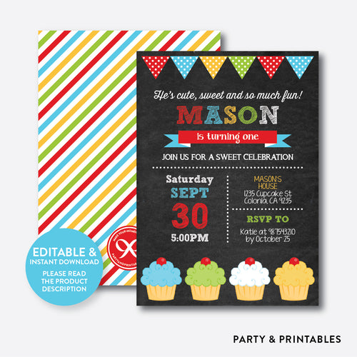 Cupcake Chalkboard 1st Birthday Invitation / Editable / Instant Download (CKB.03C)
