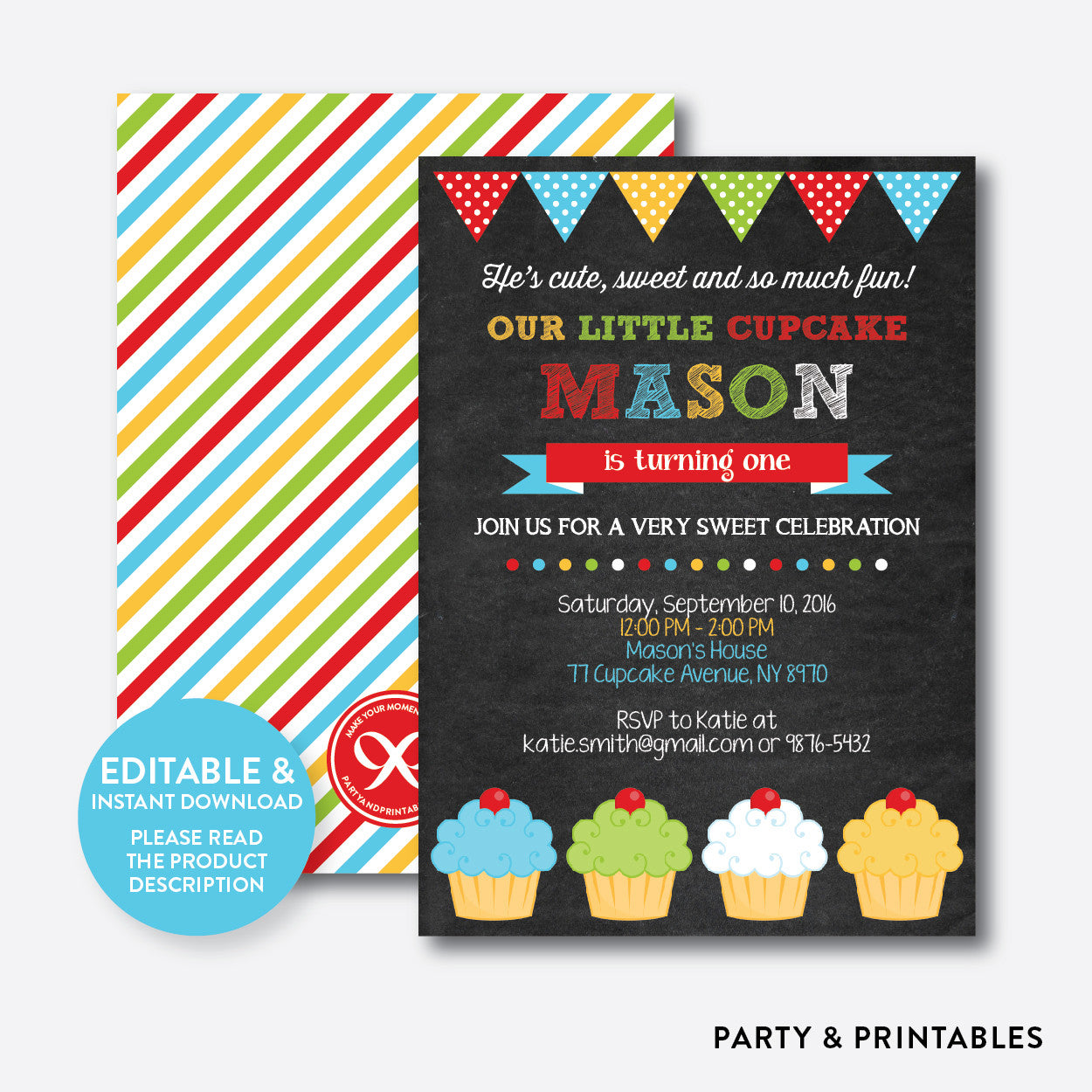Cupcake Chalkboard Kids Birthday Invitation / Editable / Instant Download (CKB.03), invitation - Party and Printables