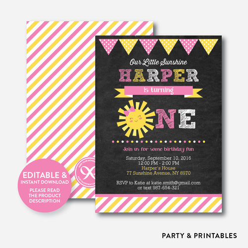 Little Sunshine Chalkboard 1st Birthday Invitation / Editable / Instant Download (CKB.04B)