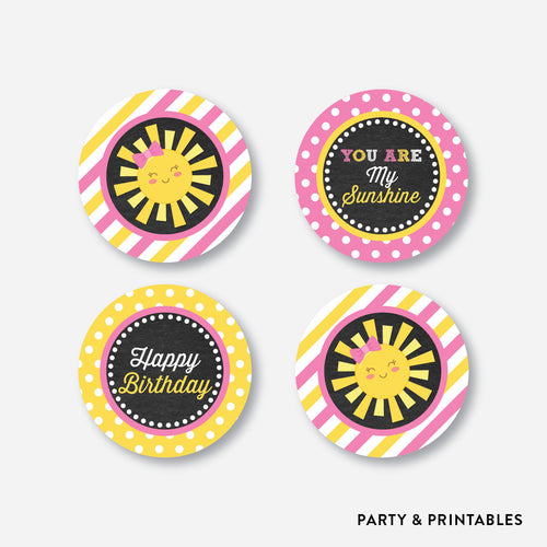 Sunshine Chalkboard Cupcake Toppers / Non-Personalized / Instant Download (CKB.04)