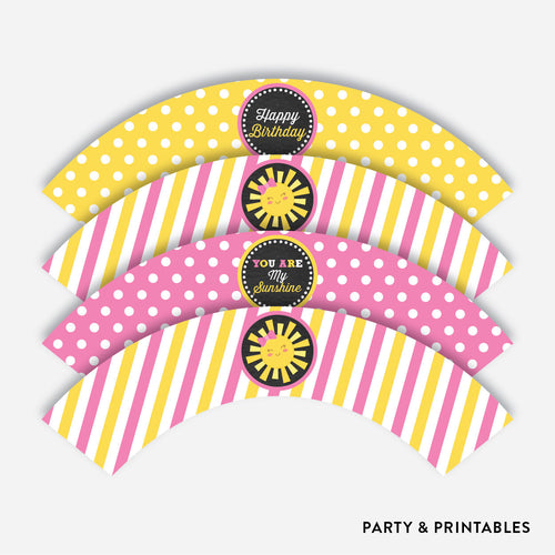 Sunshine Chalkboard Cupcake Wrappers / Non-Personalized / Instant Download (CKB.04)