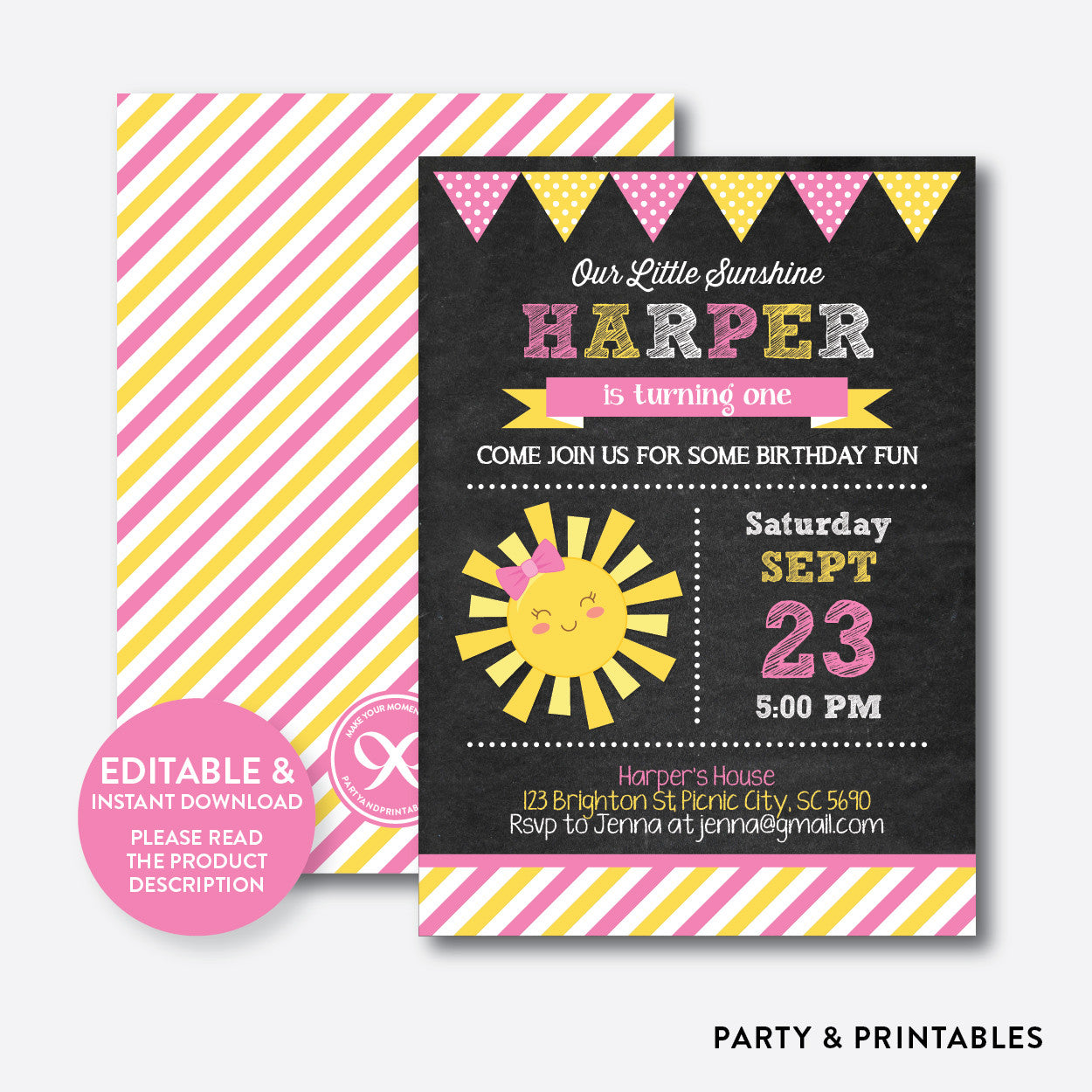 Little Sunshine Chalkboard Kids Birthday Invitation / Editable / Instant Download (CKB.04)