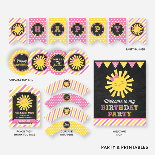 Sunshine Chalkboard Standard Kids Birthday Party Package / Non-Personalized / Instant Download (CKB.04)
