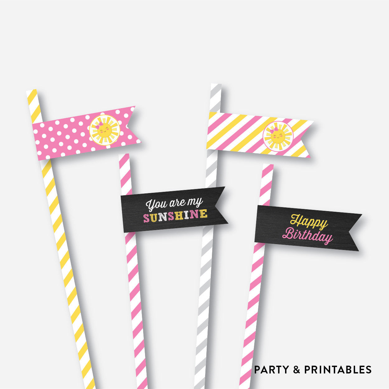 Sunshine Chalkboard Straw Flags / Non-Personalized / Instant Download (CKB.04), party printables - Party and Printables