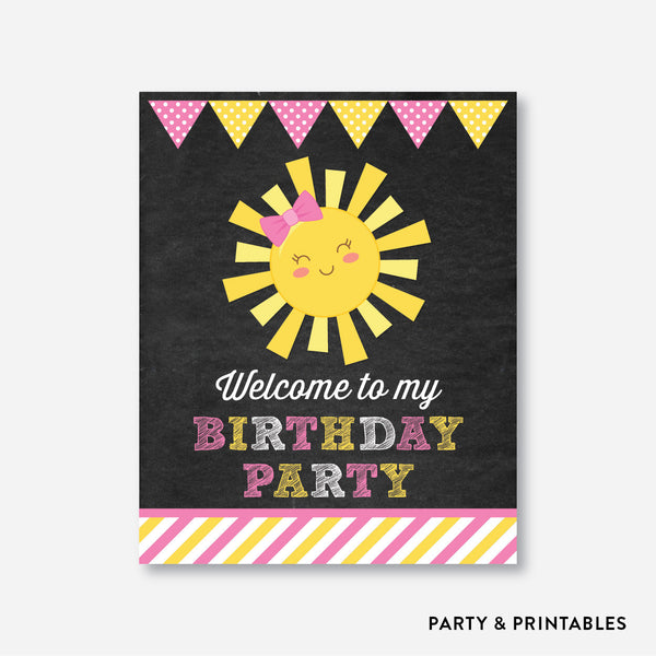 Sunshine Chalkboard Welcome Sign / Non-Personalized / Instant Download (CKB.04), party printables - Party and Printables