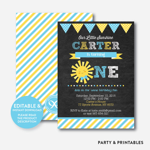 Little Sunshine Chalkboard 1st Birthday Invitation / Editable / Instant Download (CKB.05B)