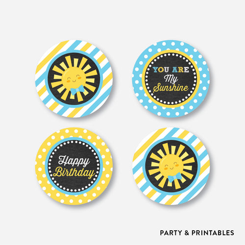 Sunshine Chalkboard Cupcake Toppers / Non-Personalized / Instant Download (CKB.05)