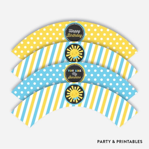 Sunshine Chalkboard Cupcake Wrappers / Non-Personalized / Instant Download (CKB.05)