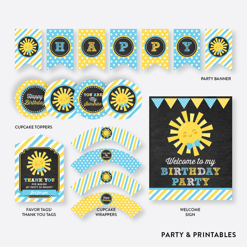 Sunshine Chalkboard Standard Kids Birthday Party Package / Non-Personalized / Instant Download (CKB.05)