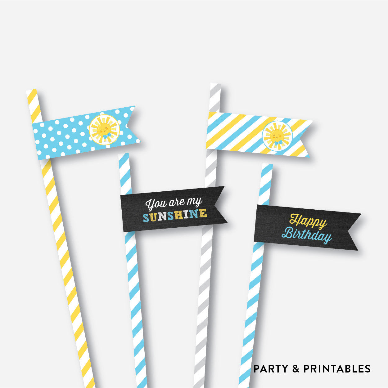 Sunshine Chalkboard Straw Flags / Non-Personalized / Instant Download (CKB.05), party printables - Party and Printables
