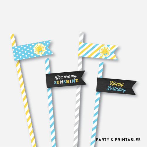 Sunshine Chalkboard Straw Flags / Non-Personalized / Instant Download (CKB.05)