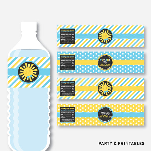 Sunshine Chalkboard Water Bottle Labels / Non-Personalized / Instant Download (CKB.05)