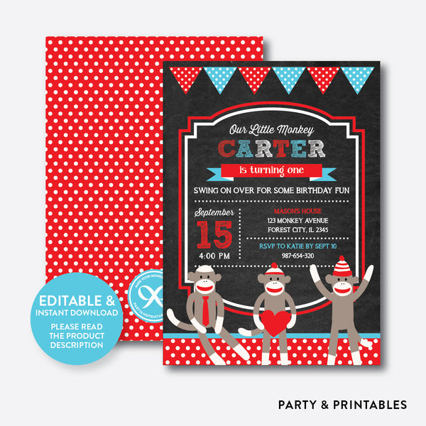 Sock Monkeys Chalkboard Kids Birthday Invitation / Editable / Instant Download (CKB.06B), invitation - Party and Printables