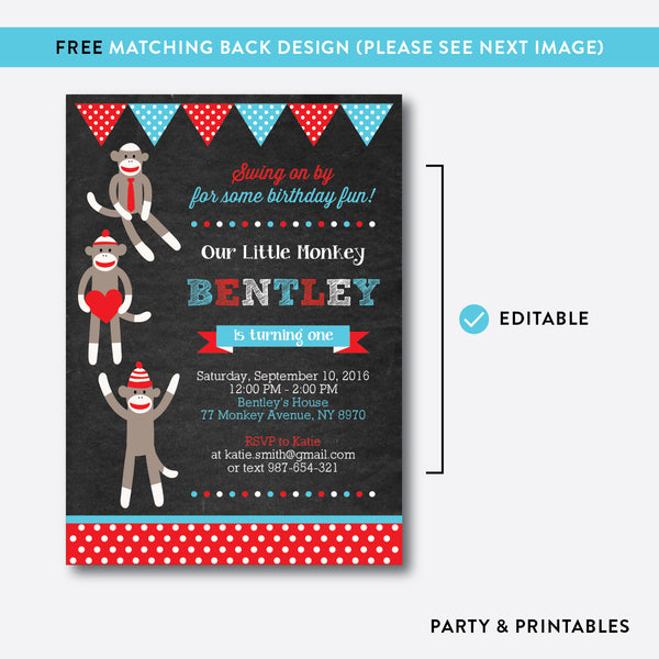 Sock Monkeys Chalkboard Kids Birthday Invitation / Editable / Instant Download (CKB.06), invitation - Party and Printables