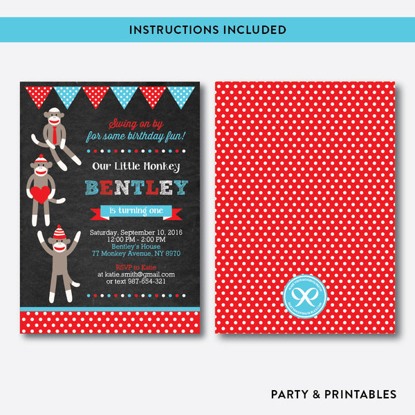 Sock Monkeys Chalkboard Kids Birthday Invitation / Editable / Instant Download (CKB.06)