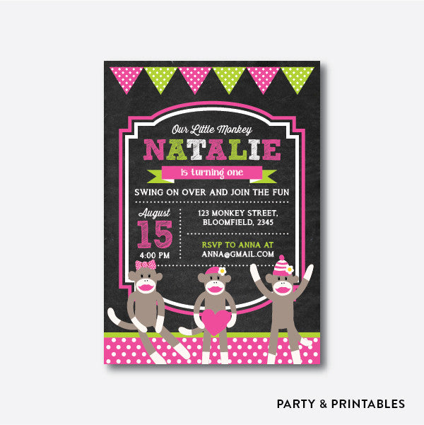 Sock Monkeys Girl Chalkboard Kids Birthday Invitation / Personalized (CKB.07), invitation - Party and Printables