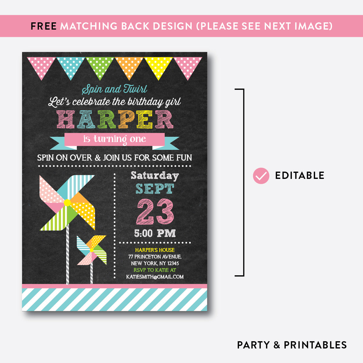 Pinwheel Chalkboard Kids Birthday Invitation / Editable / Instant Download (CKB.08B), invitation - Party and Printables