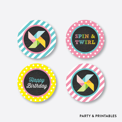 Pinwheel Chalkboard Cupcake Toppers / Non-Personalized / Instant Download (CKB.08)