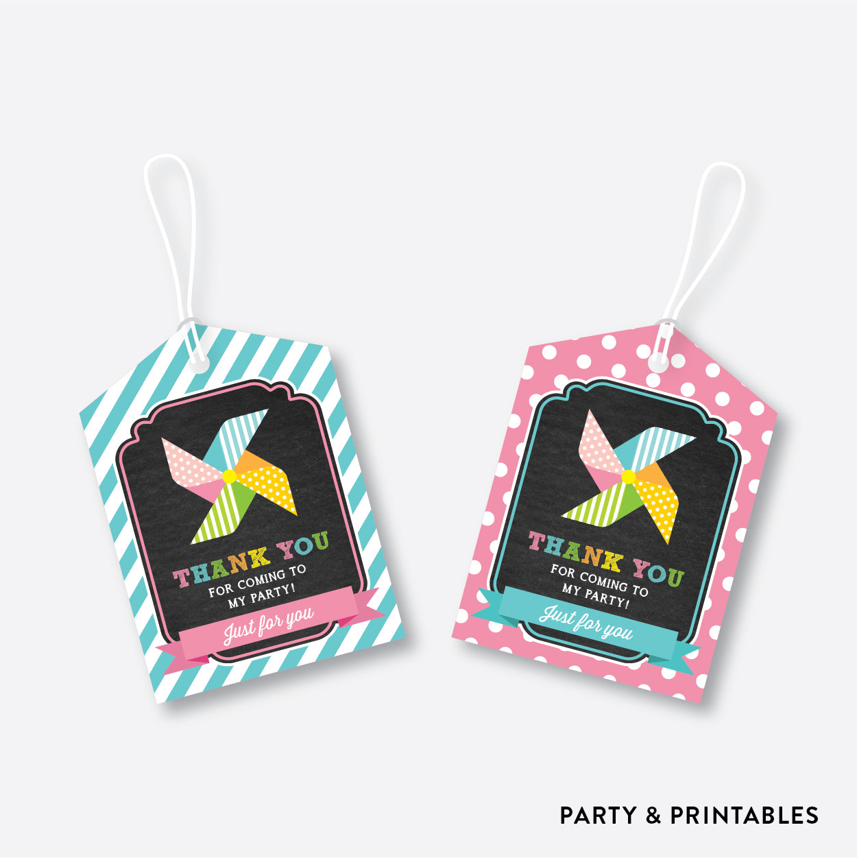 Pinwheel Chalkboard Favor Tags / Non-Personalized / Instant Download (CKB.08), party printables - Party and Printables