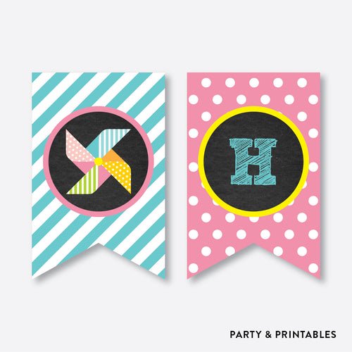 Pinwheel Chalkboard Party Banner / Happy Birthday Banner / Non-Personalized / Instant Download (CKB.08)