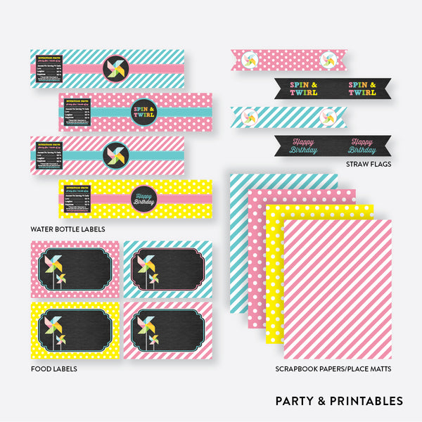 Pinwheel Chalkboard Standard Kids Birthday Party Package / Non-Personalized / Instant Download (CKB.08), party package - Party and Printables